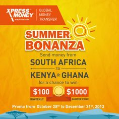 send money from south africa to kenya & ghana for a chance to win $100 bi weekly or $1000 bumper prize. offer lasts till 31st Dec 2013