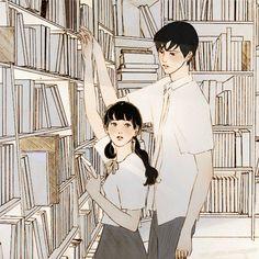 2번째 이미지 Korean Illustration, Couple Illustration, Character Illustration, Illustration Art, Anime Gifs, Cute Couple Art, Dibujos Cute, Couple Drawings, Aesthetic Gif