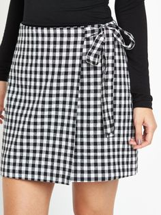 Black White Gingham Cross Over Tie Mini Skirt