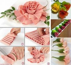 Fancy Party Food, Watermelon Carving, Food Garnishes, Food Decoration, Diy Food, Food Art, Paper Flowers, Tableware, Creative