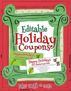 Classroom Freebies Too: Editable Coupons for Student Holiday Gifts