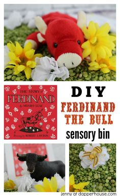 DIY - How to make a Ferdinand the Bull Sensory Bin for kids - jenny at dapperhouse The Story Of Ferdinand, Ferdinand The Bulls, Social Studies Activities, Activities For Kids, Literacy Activities, Preschool Lessons, Preschool Class, Preschool Themes, Classroom Themes