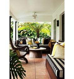 Cabana stripes are a natural fit for patio furniture—sticking to black and white lends an elevated look.