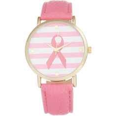 Olivia Pratt Watches Women's Ribbon Breast Cancer Watch ($49) ❤ liked on Polyvore featuring jewelry, watches, pink, dial watches, pink ribbon jewelry, wristwatches, pink jewelry and pink watches