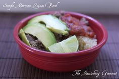 Mexican Quinoa Bowl is a fast dinner that we all enjoy – quinoa, Mexican Beef, and as many toppings as you want. Yum!
