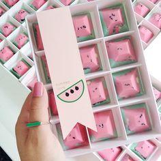 Box of 12 - Watermelon Pyramid Chocolates — nectar and stone Chocolate Sweets, Chocolate Bark, Chocolate Chip Cookies, Chocolate Shapes, Pink Chocolate, Nectar And Stone, Handmade Chocolates, Chocolate Packaging, Banana Split
