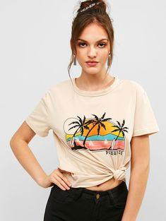 7272d0f803f Letter Palm Tree Graphic Short Sleeve Tee - Light Khaki S * hot sales 2019,