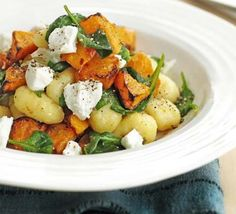 Gnocchi with roasted squash & goat's cheese - very simple to make & very delicious @ 333 calories a portion