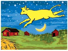 "This high quality art work reproduction is a contemporary artistic rendering of Clement Hurd's illustration from the classic, best selling, children's book: Goodnight Moon.  ""The Cow Jumped Over the Moon"" is a matte print measuring 30x20 inches and is signed by the neo pop artist, Emily Chaudhry...."