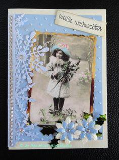 Nostalgische Weihnachtskarte,  Mädchen im Schnee Cover, Frame, Handmade, Decor, Xmas Cards, Snow, Christmas, Crafting, Picture Frame