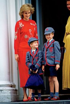 "On his first day of school at Wetherby boys school in Notting Hill, west London, Prince Harry looks up to his big brother, Wills, who will set an academic pace too fast to be equaled. This photo is featured in the new LIFE book ""Diana at 50."" (Photo credit: Tim Graham/Getty)"