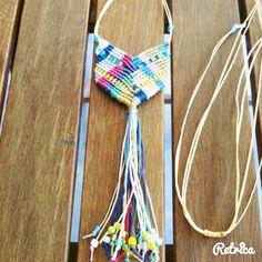 Multicolor micromacrame boho chevron necklace. Chevron Necklace, Macrame Necklace, Friendship Necklaces, String Bikinis, Tassels, Boho, Jewelry, Dental Floss, Jewlery