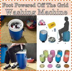 This foot powered off the grid washing machine can is a labor saving device that can save sore muscles, time and energy when washing clothes without electr Homestead Survival, Wilderness Survival, Survival Knife, Survival Prepping, Survival Skills, Power Wash Machine, Washing Machine, Natural Cleaning Recipes, Natural Cleaning Products