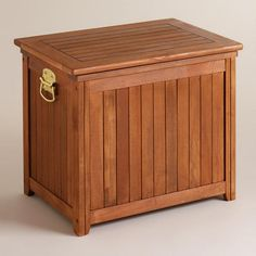 "One of my favorite discoveries at WorldMarket.com: Wood Outdoor Cooler. Exterior: 25.25""W x 17.5""D x 21.5""H; Interior: 18.4""W x 11""D x 15.75""H; 31.97 lbs. $99 on sale."
