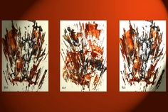 3  Original Abstract Expressive Oil Paintings  by Creative108
