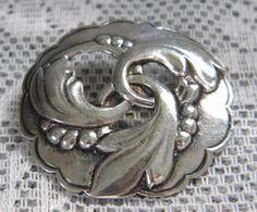 Vintage Art Nouveau Sterling Silver Brooch by GrandVintageFinery, $32.00
