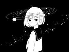 Girl Short Hair, Hair Girls, Black Hair, Anime, Black And White, Cute, Outer Space, Google, Baby
