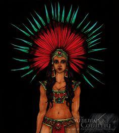 "the art of Alexandra ""Rena"" Feehery Quetzalcoatl Art, Aztec Costume, Estilo Cholo, Painted Cow Skulls, Amazons Women Warriors, Portrait Illustration, Art Illustrations, Fashion Illustrations, Mexican Tattoo"