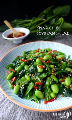 An earthy, refreshing dish loaded with nutrients,  spinach and soybean salad is seasoned with a simple yet flavourful Chinese ginger dressing. via @redhousespice