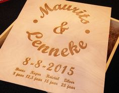#wijnkist gegraveerd met naam en datum. #laser #gravure #huwelijk #trouwen #wijn #champagne