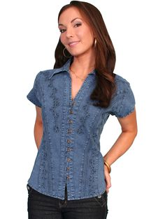 a4493d61b9 Women s Cantina Collection Top  Cap Sleeve with Floral Soutache