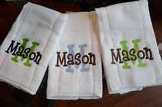 Monogrammed Gerber Burpcloth Cloth Diaper Personalized for Baby. $8.00, via Etsy.
