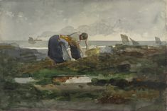 """The Mussel Gatherers,"" Winslow Homer, transparent and opaque watercolor over graphite, Baltimore Museum of Art. Georges Braque, Landscape Paintings, Watercolor Paintings, Watercolors, Cape Cod Beaches, Winslow Homer, Art Google, American Art, Art Museum"