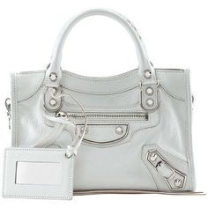 Balenciaga Metallic Edge Mini City Bag ($2,220) ❤ liked on Polyvore featuring bags, handbags, white, leather tote bags, white leather tote, handbags totes, tote handbags and tote purse