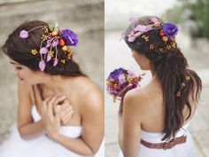 Pocahontas: A Winter Wedding (in Summer) | Debbie Lourens Photography Hair piece by Green Goddess flower studio