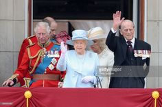 Prince Charles, Prince of Wales, Prince William, Duke of Cambridge, Queen Elizabeth II, Camilla, Duchess of Cornwall and Prince Philip, Duke of Edinburgh look out from the balcony of Buckingham Palace during the Trooping the Colour parade on June 17, 2017 in London, England.