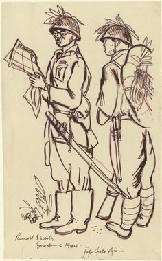 Japanese Field Officer and a Soldier, 1944. A full length sketch of a Japanese officer holding a map and wearing a samurai sword, accompanied by a Japanese soldier in full kit. Both are wearing tin hats camouflaged with greenery. Catalogue number: Art.IWM ART 15747 131 Production date: 1944 © Ronald Searle 1944, by kind permission of the artist and The Sayle Literary Agency