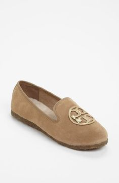 Tory Burch Billy Split Suede/Mirror Craquellee Slippers Camel/Gold Size 7 *** You can find out more details at the link of the image.