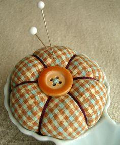 caramel plaid pincushion (close up) by Venus@suburbia-soup, via Flickr