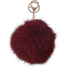 Humble Chic NY Pom Pom ($28) ❤ liked on Polyvore featuring accessories, burgundy, key chain, pom pom key rings, fur key ring, ring key chain and fur key chain