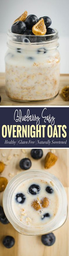 Blueberry almond butter easy overnight oats recipe - Breakfast will be ready even before you wake up Clean Eating Breakfast, Low Carb Breakfast, Best Breakfast, Healthy Breakfast Recipes, Brunch Recipes, Healthy Deserts, Healthy Appetizers, Vegan Breakfast, Healthy Eats