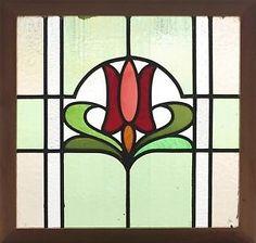 Art Nouveau tulip Stained Glass Windows | Antique-Stained-Glass-Window-Eight-Color-Art-Nouveau-Tulip