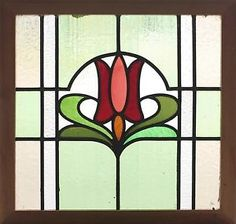 Art Nouveau tulip Stained Glass Windows | Antique-Stained-Glass-Window-Eight-Color-Art-Nouveau-Tulip