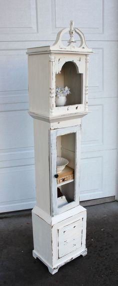 repurposed grandfather clock | Shabby Grandfather Clock Shelf} — Vintage Farm Furniture