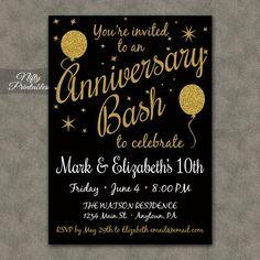 10th Anniversary Invitations  Printable Black & by NiftyPrintables, $15.00