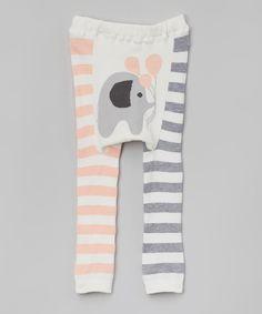 Doodle Pants Pink Stripe Elephant Leggings - Infant |
