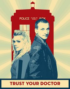 Doctor Who propaganda poster, with the 9th Doctor and Rose because I think they are cute. Done in Photoshop CS 5.