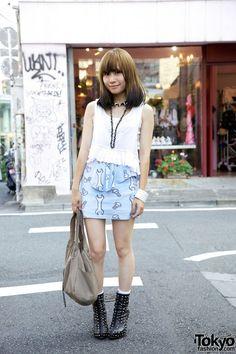 Tokyo Fashion: #skirt #hairdye #harajuku