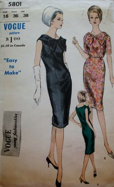 1960s Sleeveless One Piece Sheath Dress/ Sewing Pattern/Vogue 5801/ Oversized Bow Front/Bust 36 by BluetreeSewingStudio on Etsy