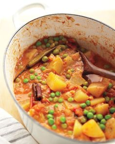 Pea and Potato Curry. The recipe from Martha is rather fussy, but it's a nice jumping off point.