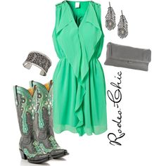 Corral Cowboy Boots w/ mint green dress. This would be cute even though I don't look good in green lol Rodeo Outfits, Country Outfits, Girl Outfits, Fashion Outfits, Rodeo Chic, Mint Green Dress, Green Silk, Country Fashion, Girl Fashion
