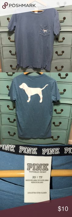Pink Victoria's Secret tee shirt Blue pink shirt with the dog on the back and on the pocket Tops Tees - Short Sleeve