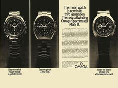 1972 Omega Publicity for Mark Series Modern Watches, Vintage Watches, Cool Watches, Watches For Men, Luxury Watches, Omega Speedmaster Moonwatch, Moon Watch, Speedmaster Professional, Watch Ad