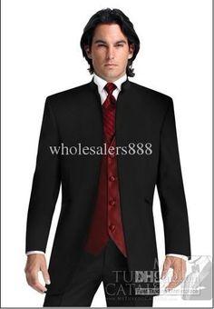 Wholesale Men Suits - Buy Black Suit Burgundy Vest Groom Tuxedos Mandarin Lapel Best Man Groomsmen Men Wedding Suits Bridegroom (Jacket+Pants+Tie+Vest) H604, $121.59   DHgate
