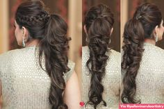 Puffy Ponytail Hairstyles That Indian Brides Are Getting Ob – WedBook Hairstyle With Suit, High Pony Hairstyle, High Ponytail Hairstyles, Ponytail Styles, Sleek Hairstyles, Hair Styles, Puffy Ponytail, Bridal Ponytail, Bridal Hair
