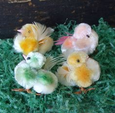 4 Small Vintage Chenille Easter Chicks Pretty by TinselandTrinkets, $16.50